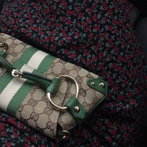 GUCCI Monogram Horsebit Web Clutch Green